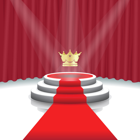 Design template: Illuminated stage podium with crown, red carpet and curtain background for award ceremony,  Vector illustration