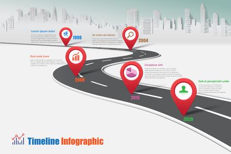 Illustration pour Business road map timeline infographic city designed for abstract background template milestone element modern diagram process technology digital marketing data presentation chart Vector illustration - image libre de droit