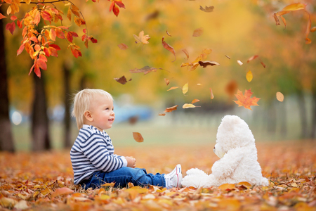 Foto de Little toddler baby boy, playing with teddy bear in the autumn park, throwing leaves around himself - Imagen libre de derechos