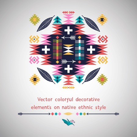 Decorative  element in native american style on white background
