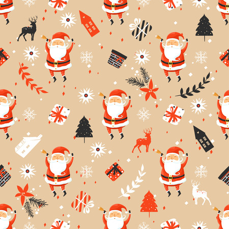 Foto de Merry Christmas seamless pattern with Santa Claus - Imagen libre de derechos