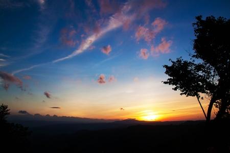 blue sky sunset in Pha-geb-tawan Thailand
