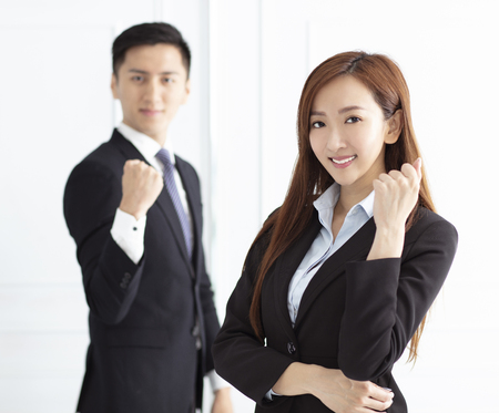 Photo for Young smiling business woman and business man - Royalty Free Image