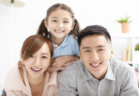 Photo pour Happy family and child having fun together - image libre de droit