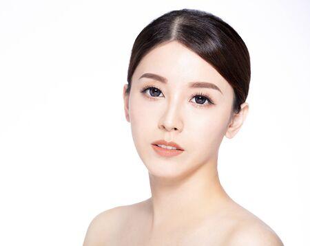 Photo pour closeup  young beauty face with clean fresh skin - image libre de droit