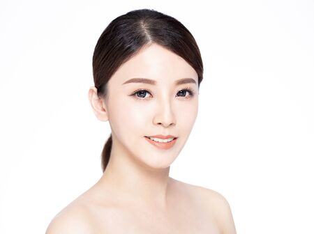 Photo for closeup  young beauty face with clean fresh skin - Royalty Free Image