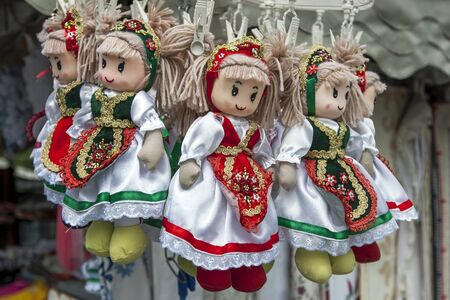 Dolls dressed in traditional Hungarian costume for sale at the Citadel (fortress) on Gellert Hill in Budapest in Hungary. in Budapest in Hungary.