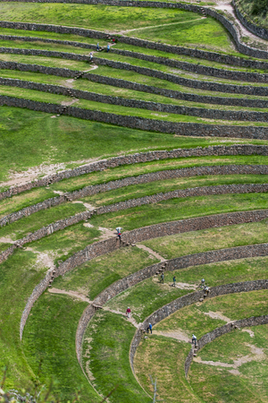 A section of the incredible ancient circles of Moray in Peru. Located 50 km northwest of Cusco in the Sacred Valley of the Incas, it is believed that this was a research station where various crops were tested for their suitability to grow in the Andes ha