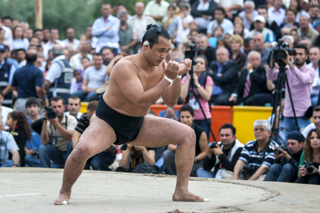 A sumo wresler prepares for battle during an exhibition bout in Edirne in Turkey.