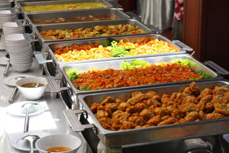 Tray of food in the buffet.