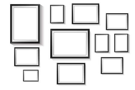 Illustration pour Vertical rectangle frame, black exterior frame overlaid with white frame on white background - image libre de droit