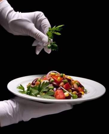 Photo for Closeup of healthy bean salad on a white plate - Royalty Free Image