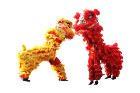 chinese traditional lion dance during Chinese New Year celebration