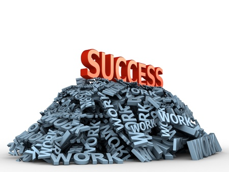 The big red word success on the big pile of words work