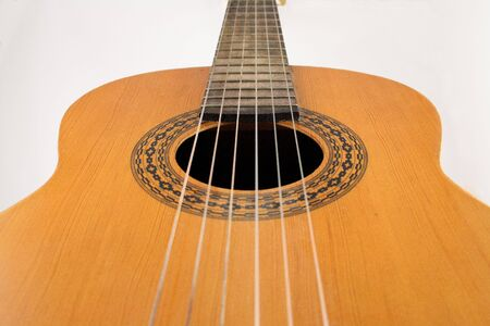 Close up of a classic spanish guitar.