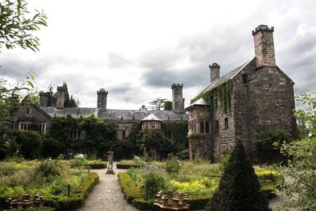 The restored, ancient and haunted Gwydir castle at Snowdonia National Park in Gwynedd, Wales.