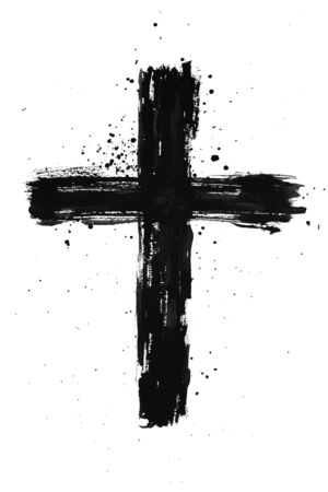 Foto de Hand painted black ink cross with brush stroke texture and splatter on isolated white background - Imagen libre de derechos