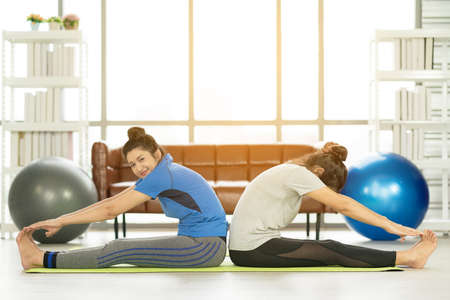 Photo pour Woman working out with fitness ball of sportswomen practicing yoga. Stretching using fitness ball at home - image libre de droit