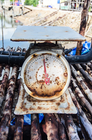 closeup of old rusty scales, vintage color photo