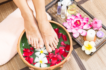 Photo for Spa treatment and product for female feet spa, Thailand. select and soft focus - Royalty Free Image