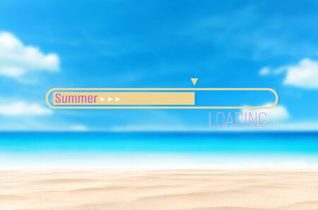 Photo for Summer loading words on blur tropical beach with bokeh sunlight wave abstract background. Summer vacation and travel holiday concept. Vintage tone filter effect color style. - Royalty Free Image