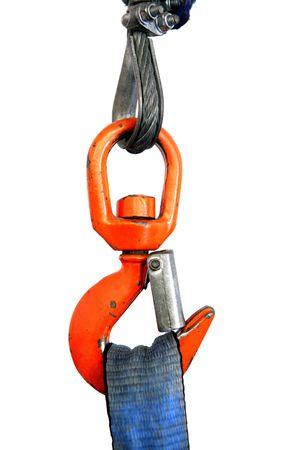 Colorful orange crane hook holding blue tape rope detail