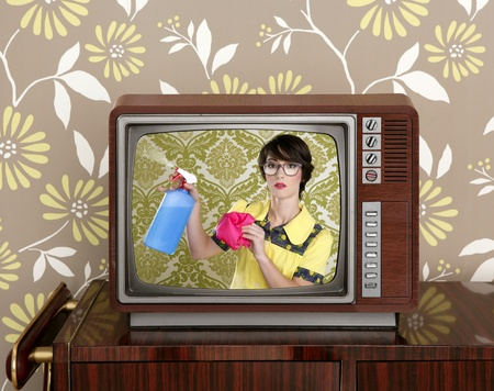 ad tv commercial retro nerd housewife cleaning chores wood television