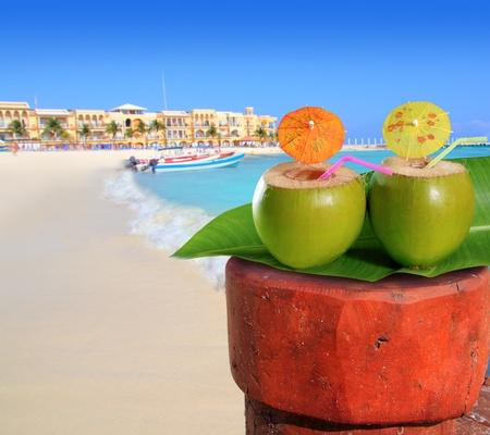 playa del Carmen mexico Mayan Riviera beach coconut cocktail straw