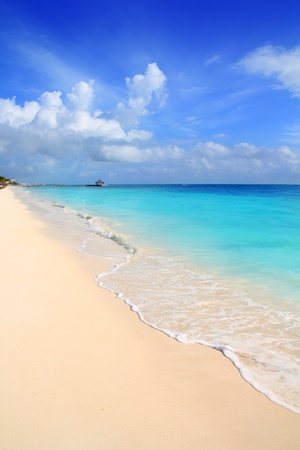 Caribbean tropical turquoise beach blue sky Mayan Riviera Mexico