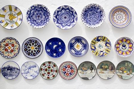 ceramic plates decorated hand painted crafts Mediterranean Ibiza