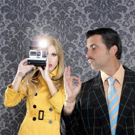 geek tacky mustache man reporter fashion girl photo shoot retro wallpaper