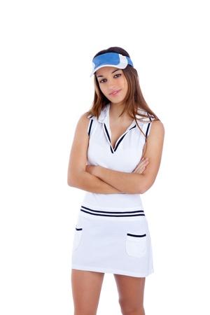 brunette tennis sport girl with white dress and sun visor cap crossed arms