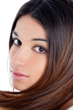 asian brunette indian woman with long hair closeup portrait
