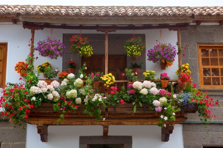 Gran Canaria Teror flower pot balcony in Canary islands