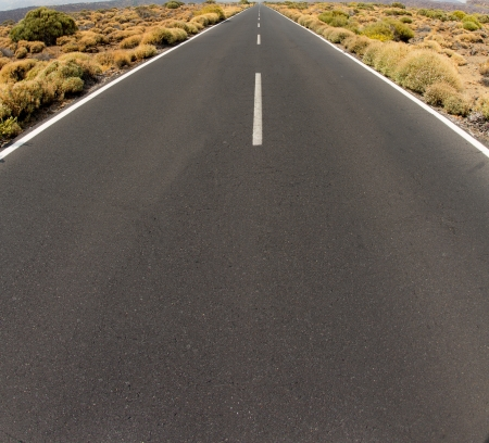 Closeup of road persective vanishing point to infinity in Tenerife