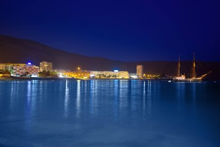 Beach los Cristianos night view in Tenerife Arona Adeje coast Canary Islands