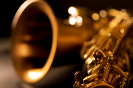 Tenor sax golden saxophone macro with selective focus on black