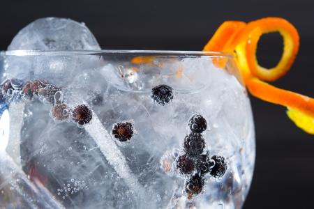 Gin tonic cocktail macro closeup with juniper berries orange