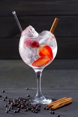 Gin tonic cocktail with strawberries raspberry cinnamon and juniper berries on black