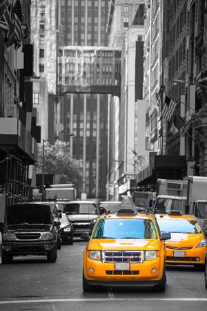 Fift avenue neigbourhood yellow cab taxi 5 th Av New York Manhattan USA