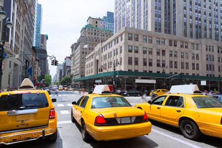 New York city Manhattan Fifth Avenue 5th Av yellow taxi cab US