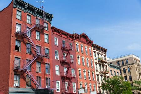 West Village in New York Manhattan building facades USA NYC