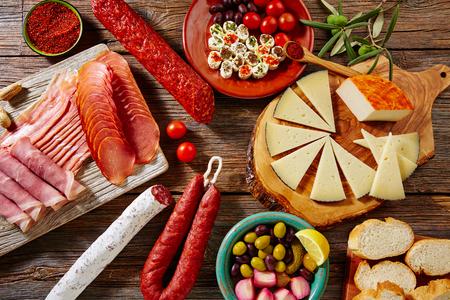 Tapas sausage mix from Spain jamon iberico lomo cheese ham chorizo olives