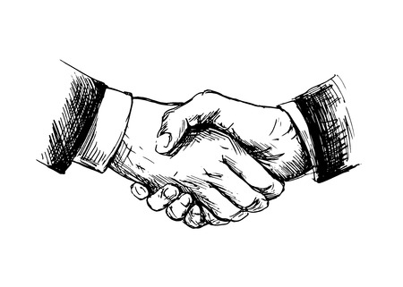 Drawing shake hands Vector illustration