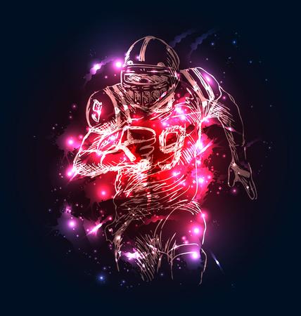 Foto de Vector background with sketch of american football player. Vector illustration - Imagen libre de derechos