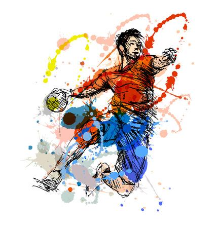 Ilustración de Colored hand sketch handball player. Vector illustration - Imagen libre de derechos