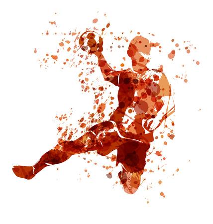 Photo pour Vector Watercolor sketch of a handball player - image libre de droit