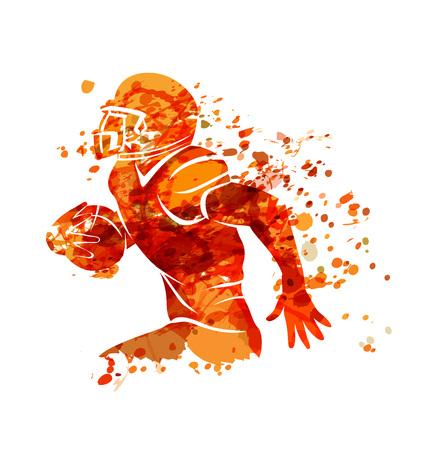 Ilustración de Vector watercolor silhouette american football player - Imagen libre de derechos