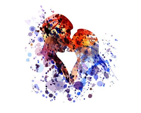 Illustration pour Vector watercolor silhouette of kissing people - image libre de droit
