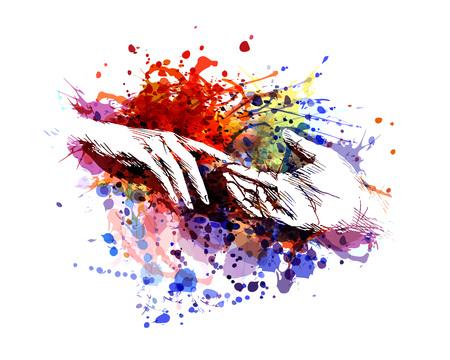 Illustration pour Vector color illustration of touching hands - image libre de droit